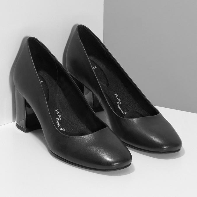 Černé kožené lodičky na stabilním podpatku pillow-padding, černá, 724-6656 - 26