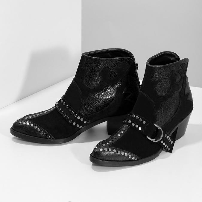 Kožená kotníčková obuv ve western stylu bata, černá, 696-6663 - 16