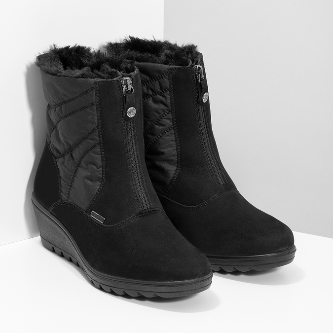 Černé dámské kotníčkové kozačky se zateplením comfit, černá, 699-6645 - 26