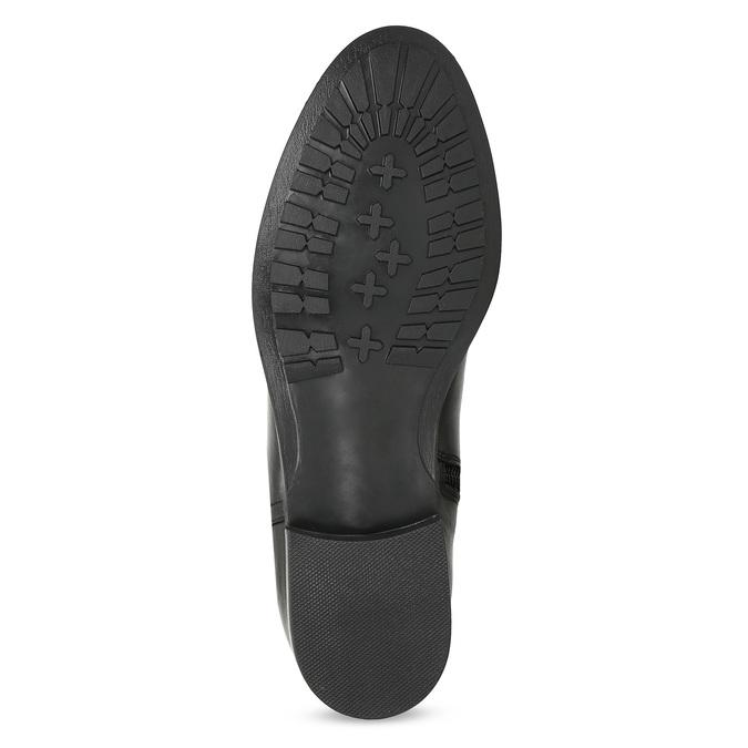 Vysoké kožené kozačky s kovovými cvoky bata, černá, 594-6669 - 18