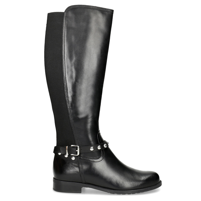 Vysoké kožené kozačky s kovovými cvoky bata, černá, 594-6669 - 19