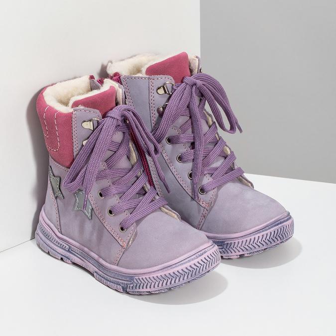 Dětská kožená kotníčková obuv s kožíškem mini-b, fialová, 296-9601 - 26