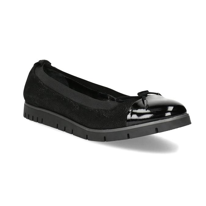 Dámské kožené baleríny černé flexible, černá, 526-6663 - 13