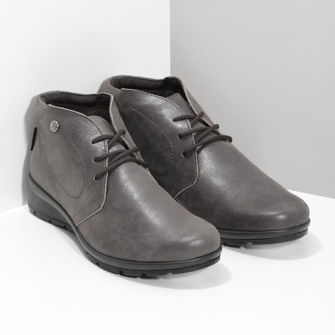 Dámská kožená kotníčková obuv comfit, hnědá, 596-4707 - 26