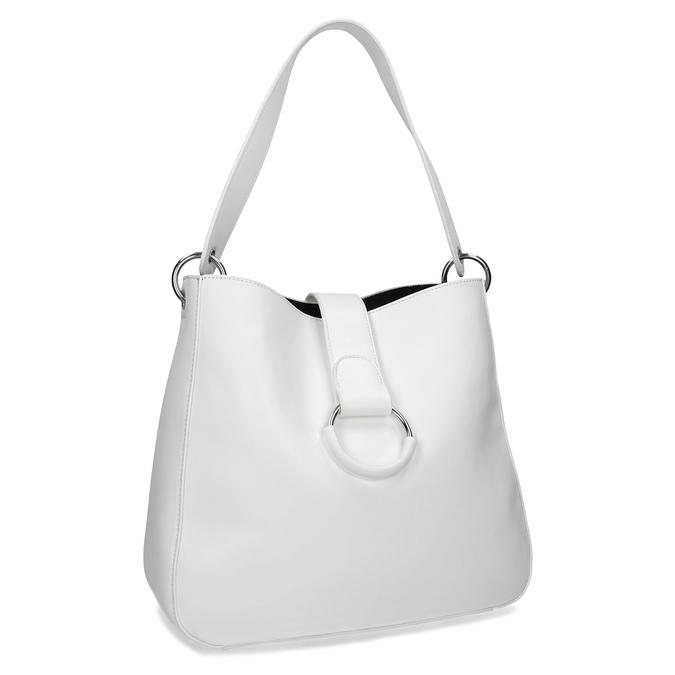 Bílá kabelka s kulatou sponou bata, bílá, 961-1931 - 13