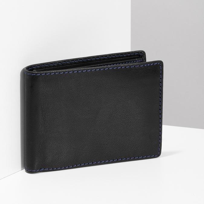 Kožená peněženka s modrým prošitím bata, černá, 944-6218 - 17