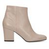 Krémová kožená kotníčková obuv na podpatku bata, béžová, 796-8654 - 19