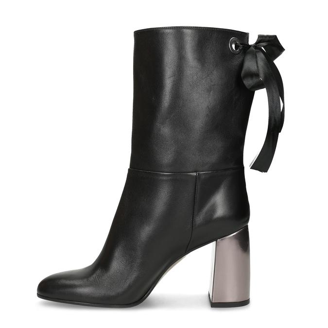 Kožené černé kozačky s metalickým podpatkem bata, černá, 796-6655 - 17