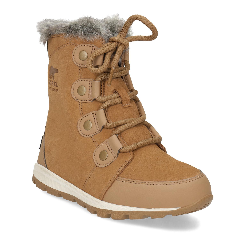 Sorel Kožená dětská zimní obuv s kožíškem - Děti  9b038a88de