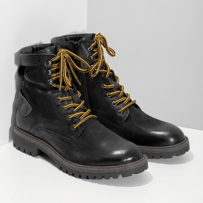 Zimní kožená pánská kotníčková obuv bata, černá, 896-6736 - 26