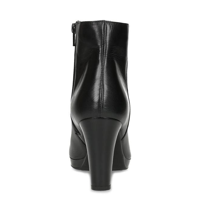 Kožená černá kotníčková obuv na podpatku bata, černá, 794-6656 - 15