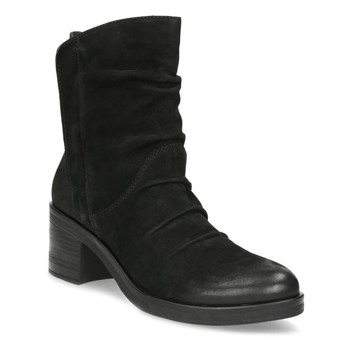 Nízké kožené kozačky černé bata, černá, 696-6659 - 13
