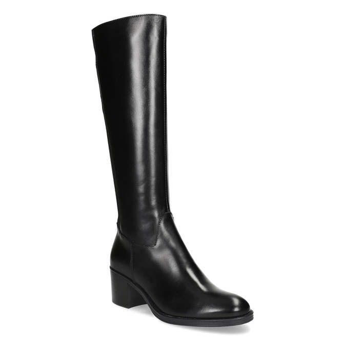 Kožené černé kozačky na stabilním podpatku bata, černá, 694-6668 - 13