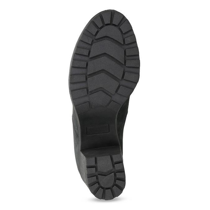 Dámská kožená kotníčková obuv se šněrováním bata, černá, 796-6653 - 18