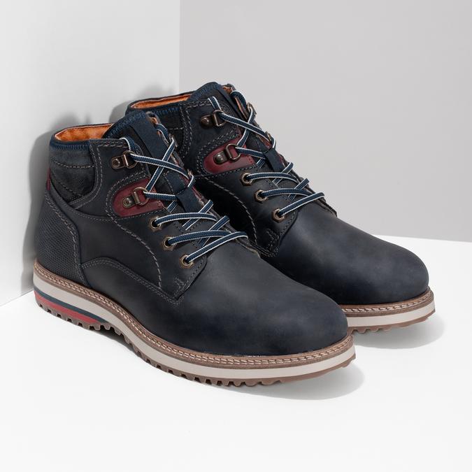 Kožená kotníková pánská zimní obuv bata, modrá, 896-9716 - 26