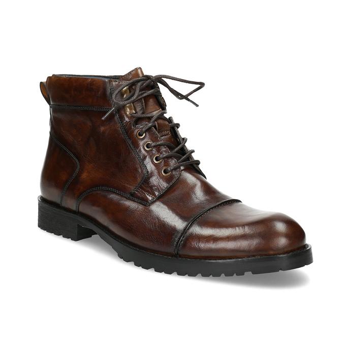 Pánská kotníková obuv hnědá lesklá bata, hnědá, 896-3720 - 13