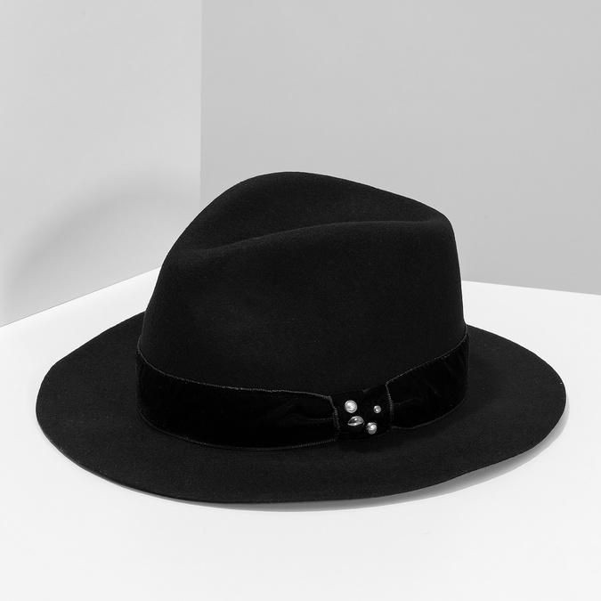 Černý klobouk se sametovou stuhou bata, černá, 909-6450 - 15