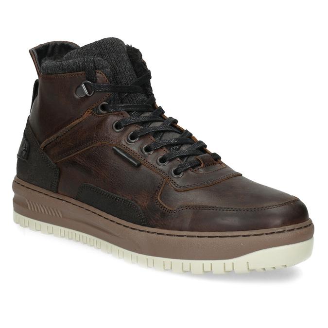 Kotníková kožená pánská zimní obuv bata, hnědá, 896-3712 - 13
