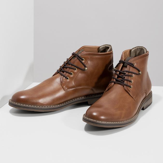 Hnědá kotníčková obuv pánská s pružením bata-red-label, hnědá, 821-3610 - 16