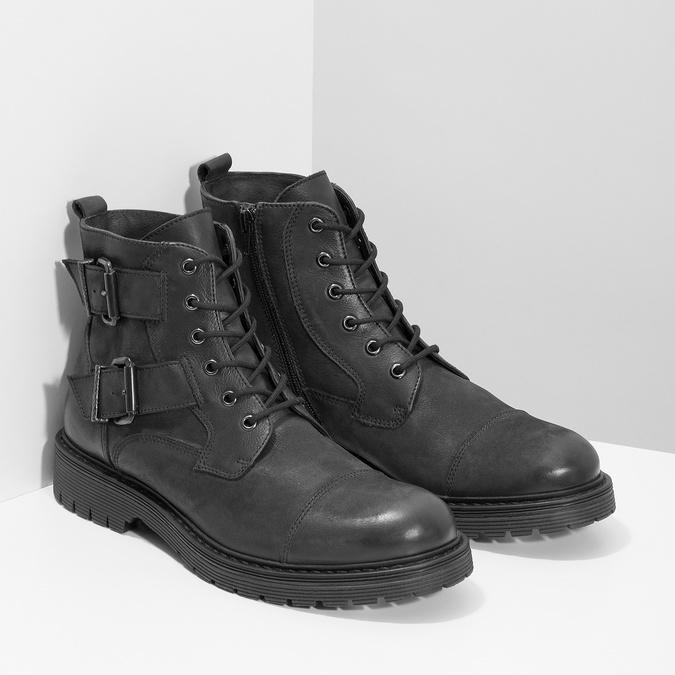 Kožená pánská kotníčková obuv s přezkami bata, černá, 896-6715 - 26