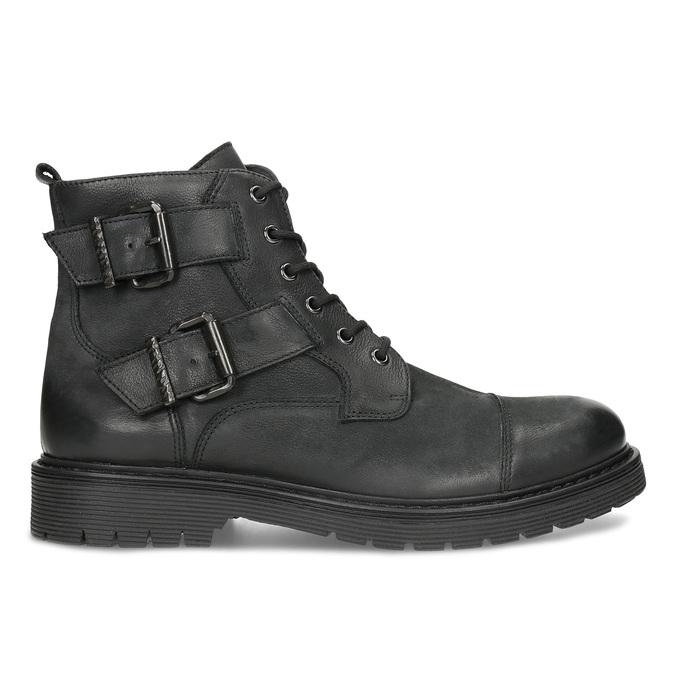 Kožená pánská kotníčková obuv s přezkami bata, černá, 896-6715 - 19