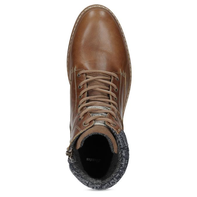 Kožená pánská kotníková obuv hnědá bata, hnědá, 896-3713 - 17