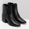 Černá kotníčková kožená obuv na podpatku bata, černá, 794-6658 - 26