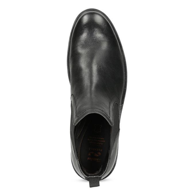 Pánské kožené Chelsea Boots černé flexible, černá, 894-6714 - 17