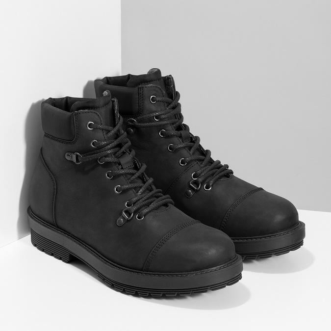 Kožená pánská kotníková obuv bata, černá, 896-6740 - 26