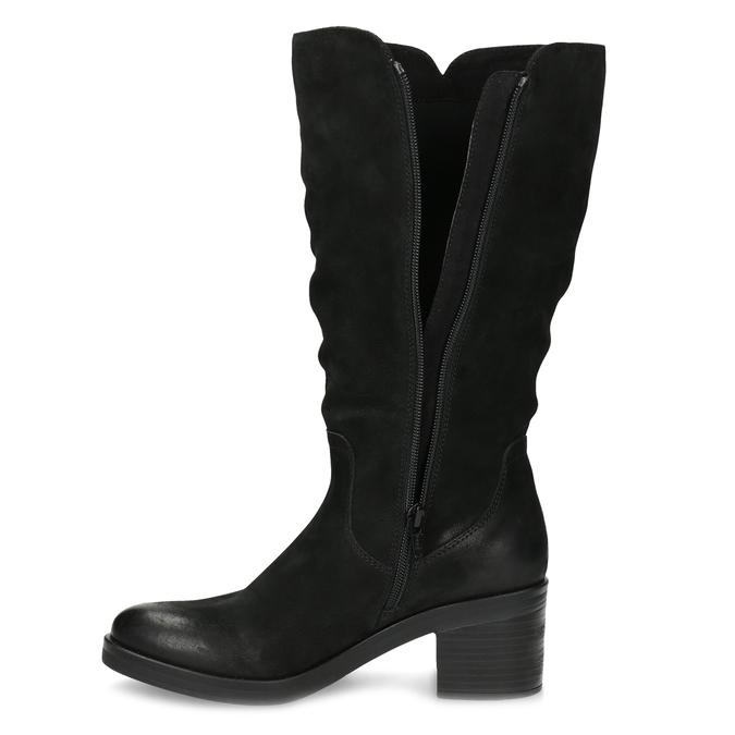 Kožené dámské kozačky na stabilním podpatku bata, černá, 696-6660 - 17