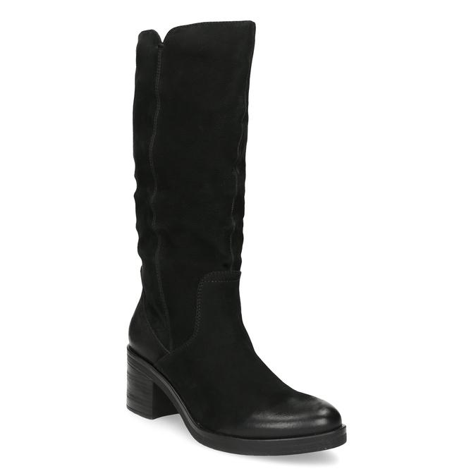 Kožené dámské kozačky na stabilním podpatku bata, černá, 696-6660 - 13