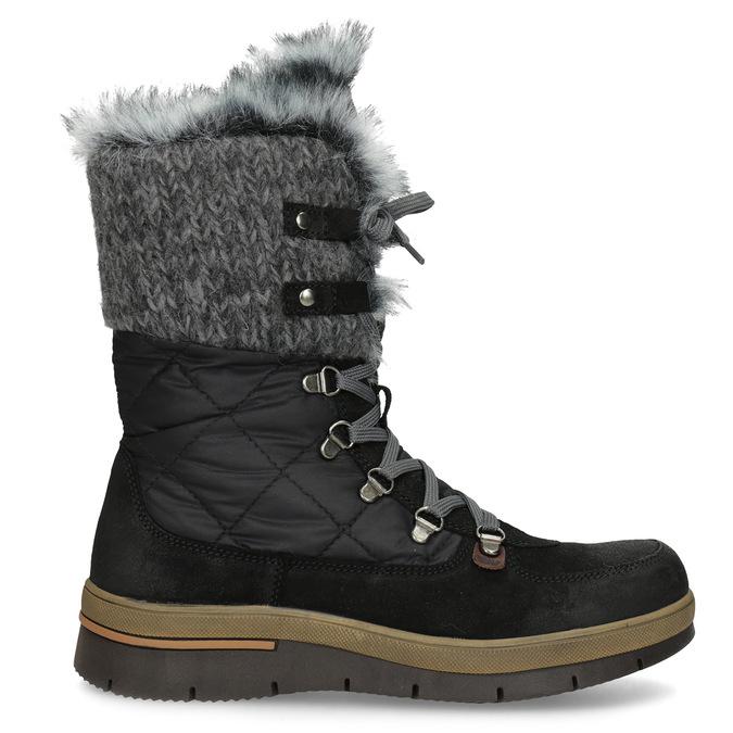 Dámská černá zimní obuv s kožíškem weinbrenner, černá, 596-6755 - 19