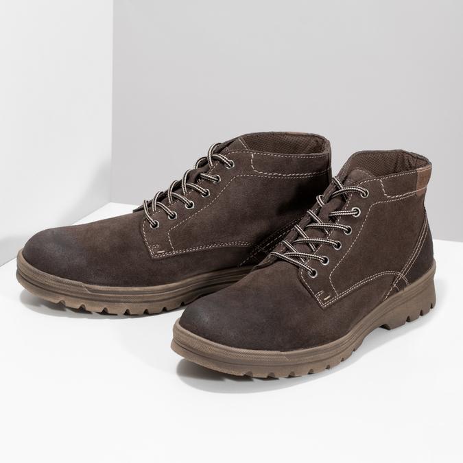 Pánská kožená kotníčková obuv weinbrenner, hnědá, 896-4108 - 16