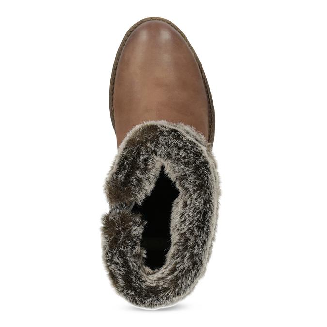 Kožená zimní kotníčková obuv s kožíškem bata, hnědá, 594-4704 - 17