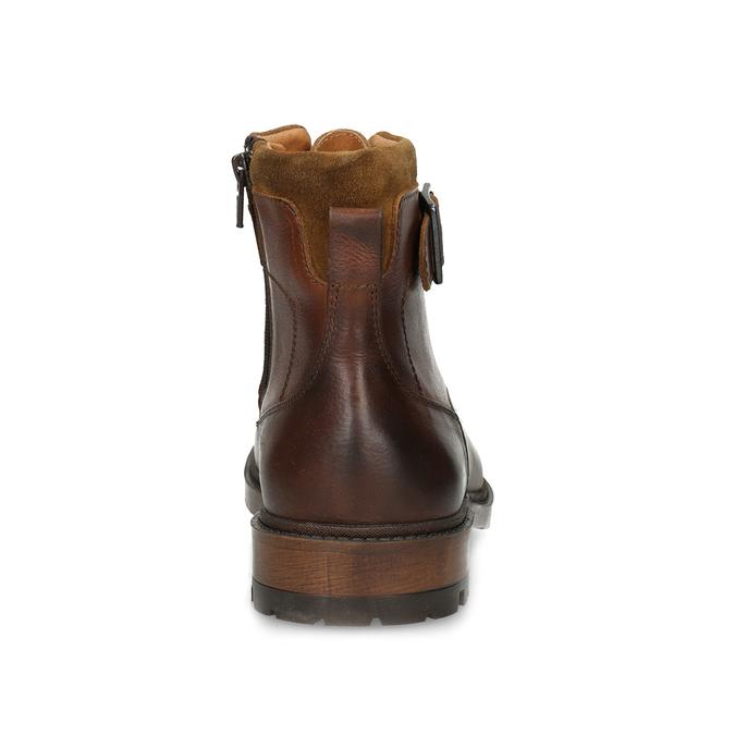 Hnědá pánská kožená kotníčková obuv bata, hnědá, 896-3731 - 15