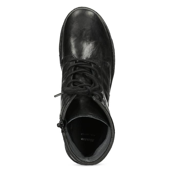 Dámská kožená kotníčková obuv se šněrováním bata, černá, 596-6740 - 17