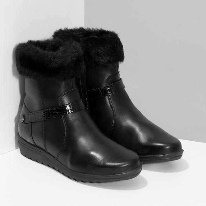 Dámské kožené zimní boty s kožíškem comfit, černá, 594-6710 - 26