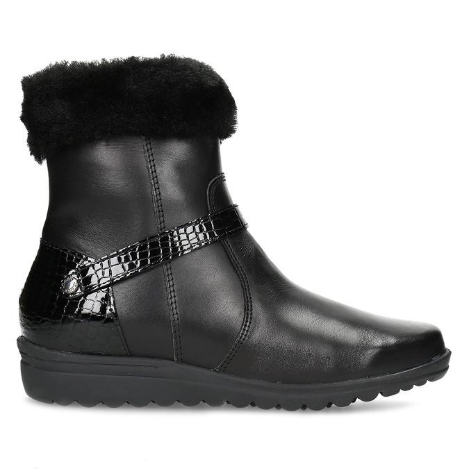 Dámské kožené zimní boty s kožíškem comfit, černá, 594-6710 - 19