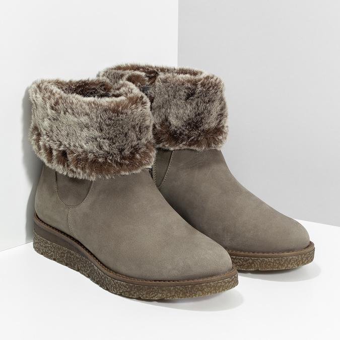 Dámská kožená zimní obuv s kožíškem bata, hnědá, 596-8704 - 26