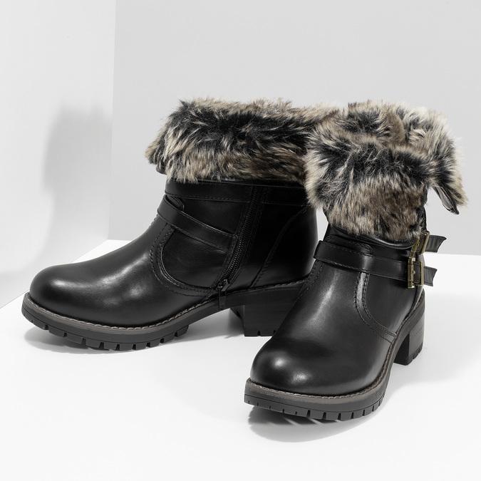 Černé dámské kozačky s kožíškem a přezkami bata, černá, 691-6642 - 16