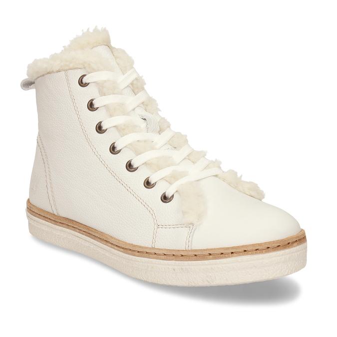 Bílá dámská kožená kotníčková obuv weinbrenner, bílá, 596-1754 - 13