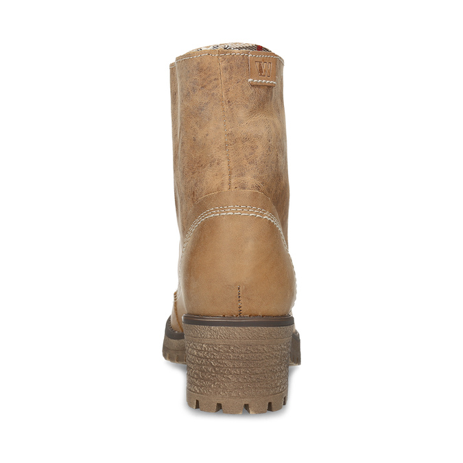 Dámská hnědá kožená kotníčková obuv weinbrenner, hnědá, 696-3668 - 15