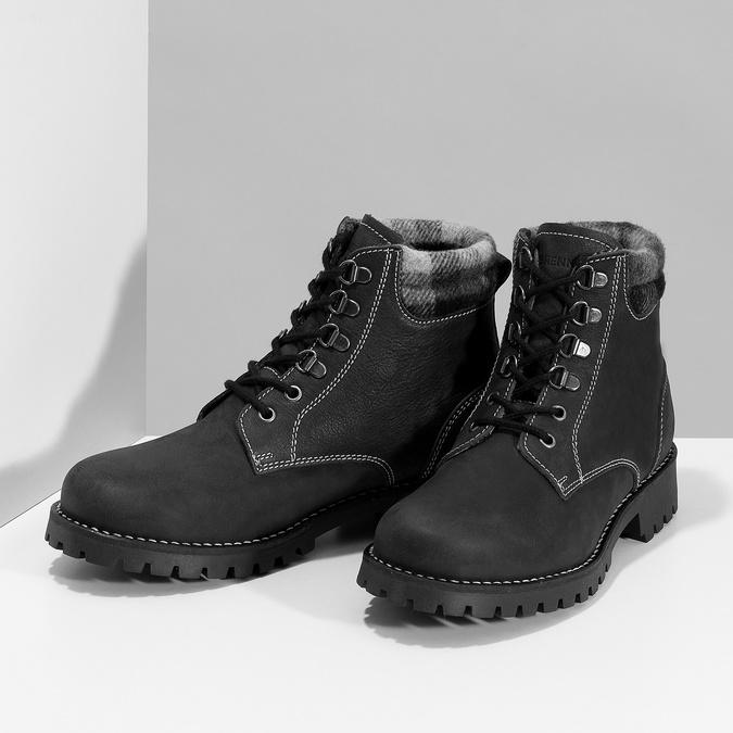 Černá dámská kožená kotníčková obuv weinbrenner, černá, 596-6729 - 16