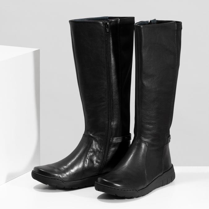 Dámské kožené černé kozačky bata, černá, 594-6684 - 16