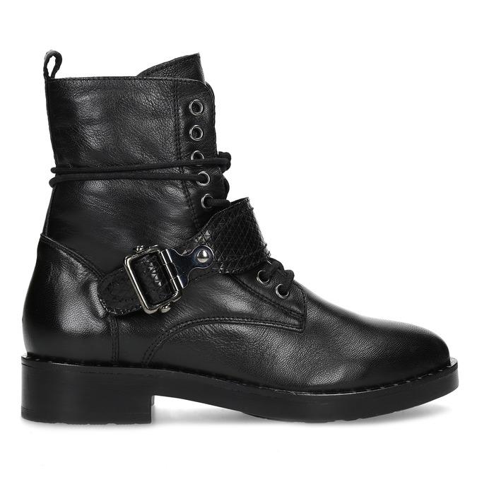 Kožená dámská kotníčková obuv s přezkou bata, černá, 596-6724 - 19