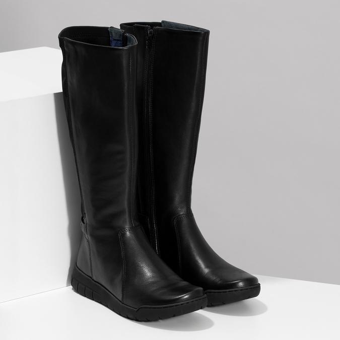 Dámské kožené černé kozačky bata, černá, 594-6684 - 26