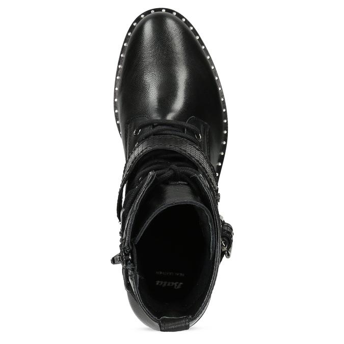 Kožená dámská kotníčková obuv s přezkou bata, černá, 596-6724 - 17