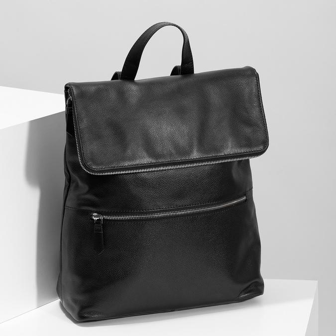 Kožený černý batůžek bata, černá, 964-6607 - 17