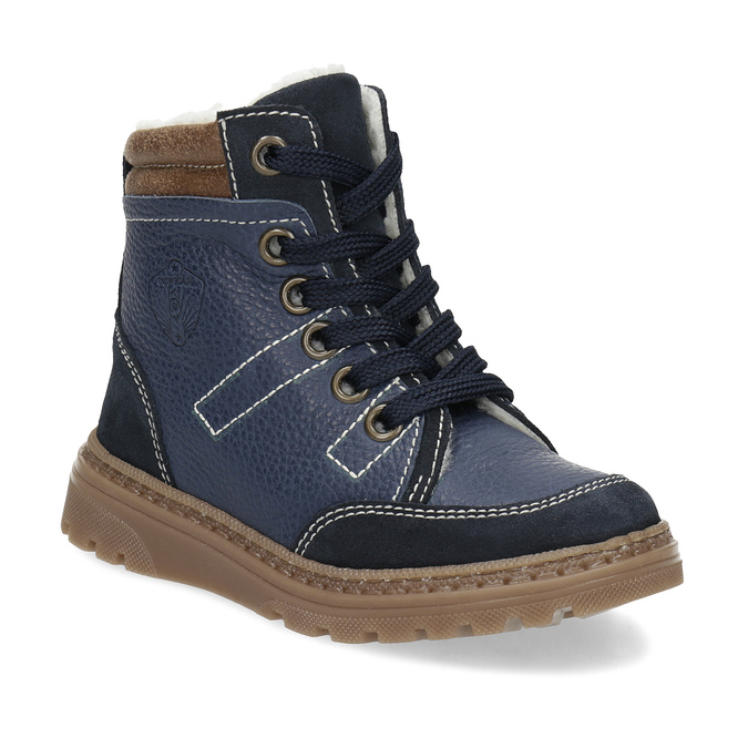 Dětské kožené zimní boty modré mini-b, modrá, 294-9601 - 13
