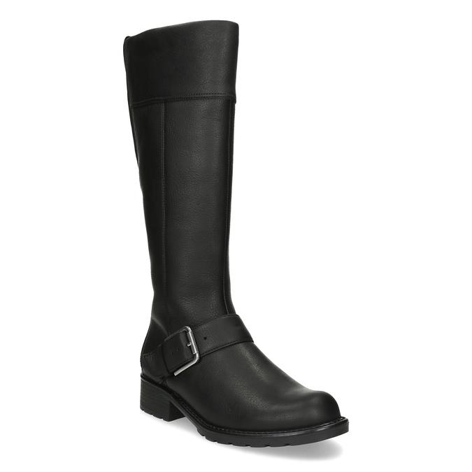 Černé dámské kozačky s přezkou clarks, černá, 696-6087 - 13